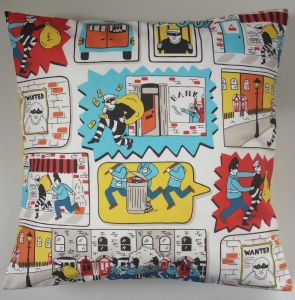 "Cushion Cover in Cath Kidston Stop Thief and Yellow Spot 14"" 16"" 18"" 20"""